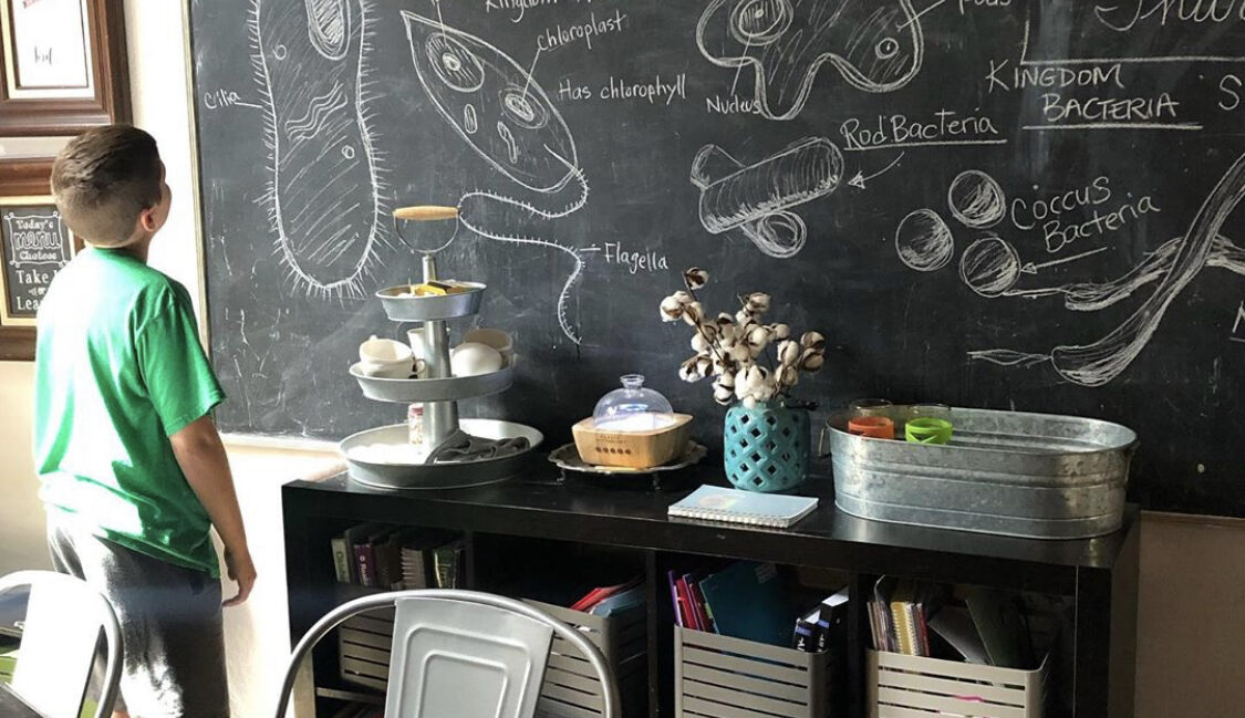 giant chalkboard on homeschool room wall