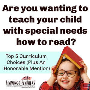 Top 5 Favorite Curriculums to teach your child with special needs how to read. Flamingo Feathers podcast Episode 7.