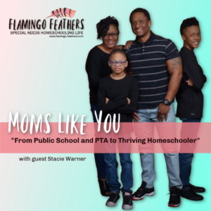 "Moms Like You: From Public School and PTA to thriving homeschoolers"" Episode 8 of the Flamingo Feathers Podcast. Special Needs Homeschooling Life. Stacie shares why she chose to homeschool her son with dyspraxia."