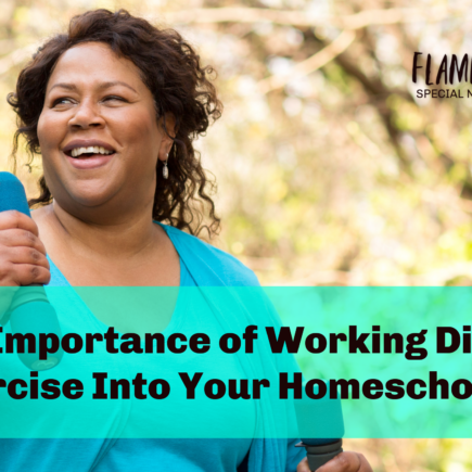 The Importance of Working Diet and Exercise Into Your Homeschool Day, Flamingo Feathers podcast episode 10, Special needs homeschooling life.
