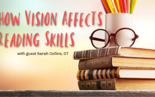 How vision affects reading skills and literacy. Advice from an occupational therapist. Flamingo Feathers podcast for special needs homeschooling.